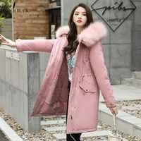 PinkyIsBlack 2019 di Nuovo Modo di Arrivo di Inverno Delle Donne Giacca di Pelliccia Fodera In Caldo Addensare Inverno Delle Signore Lungo Cappotto Parka Delle Donne Giubbotti