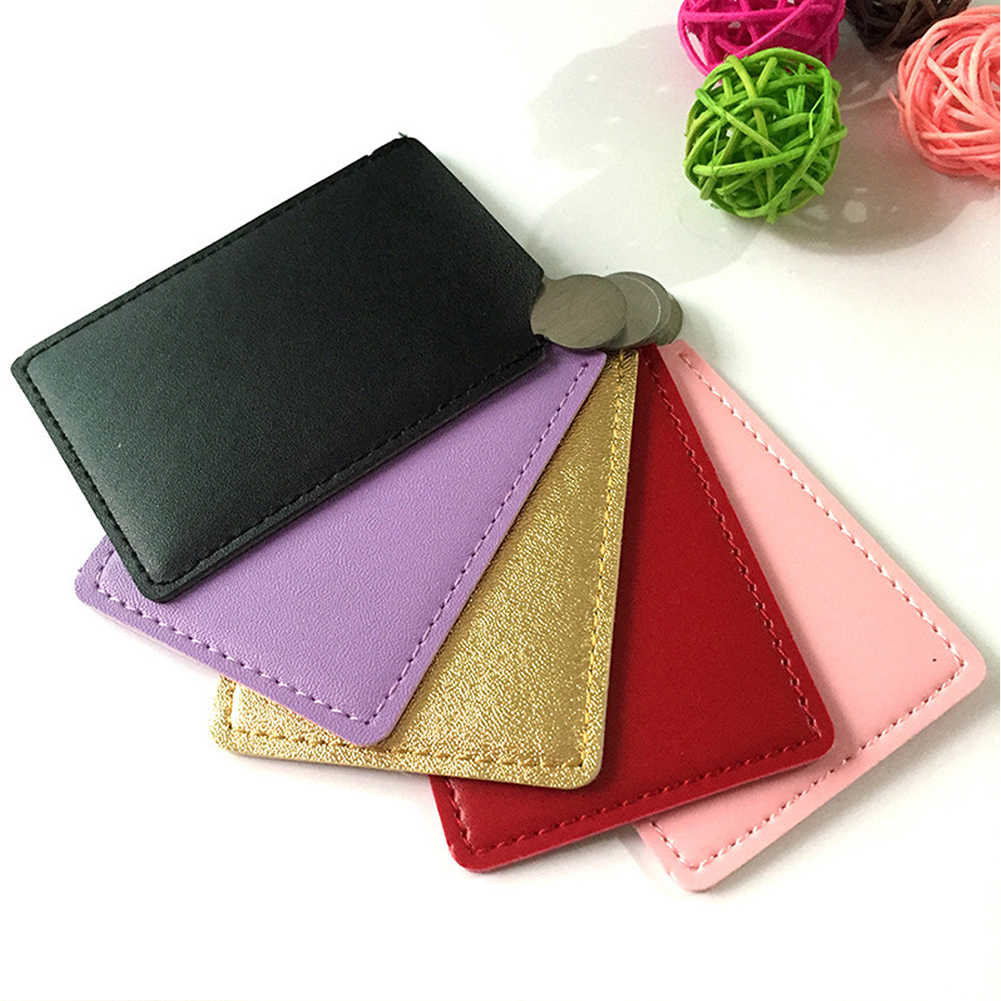 Draagbare Mini Shatter Proof Card Style Pocket Cosmetische Spiegel Pu Leather Cover Rvs Unbreakable Make-Up Spiegel Card