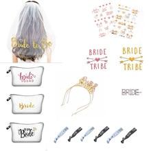 1pcs Bridal Shower Wedding Decoration Makeup Bag Veil Team Bride To Be Bachelorette Hen Party  Marriage Gift Hair Accessories-S hen s pens