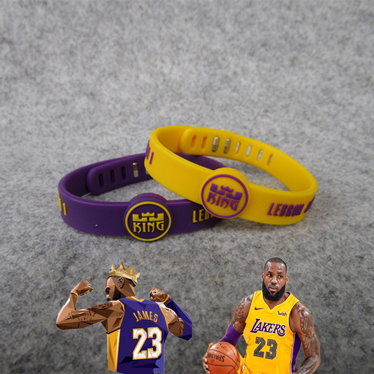 Basketball Star Lakers 23 James Sports Adjustable Bracelet Silicone Wrist Strap (Ball Game) Fan Supplies Hand Jewelry