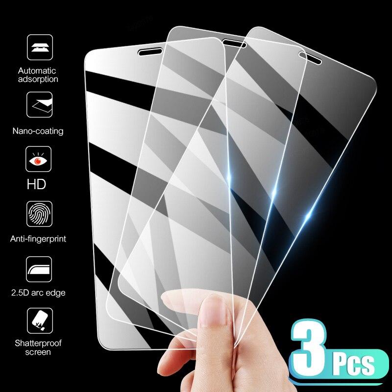 3 protectores de pantalla de cristal templado para iPhone 7 8 6 6s Plus X para iPhone X XR XS MAX SE 5 5s 11 12 Pro Glass