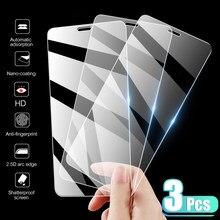 3 pçs capa completa vidro temperado no para iphone 7 8 6s plus x protetor de tela no iphone x xr xs max se 5 5S 11 12 pro vidro