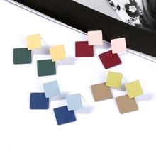 Korea Simple Alloy Drop Earrings Elegant Geometric Square 2 color Dangle Earring Summer Statement Fashion Jewelry 2019