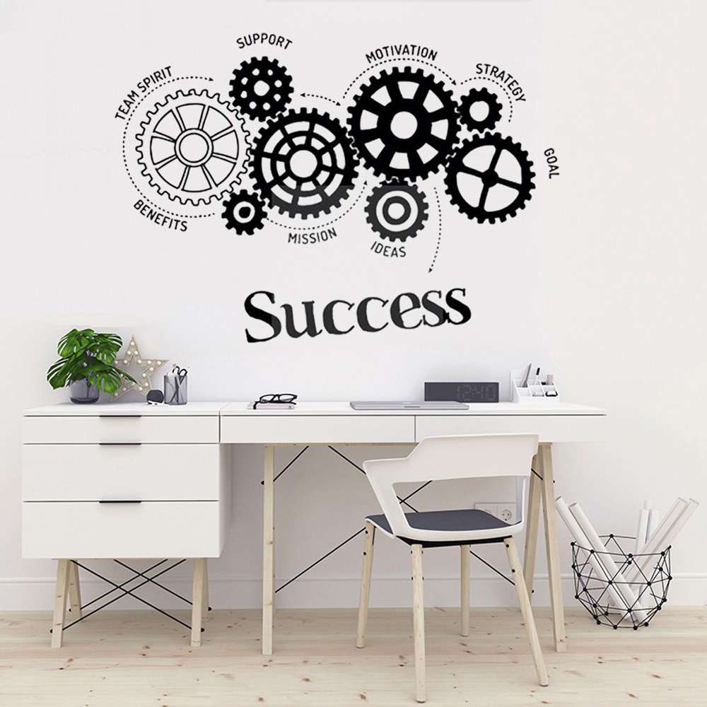 Success Gears Wall Art Sticker Team Spirit Quote Wall Decal Office Room Decoration Ideas Working Gear Vinyl Wall Poster Buy At The Price Of 8 20 In Aliexpress Com Imall Com
