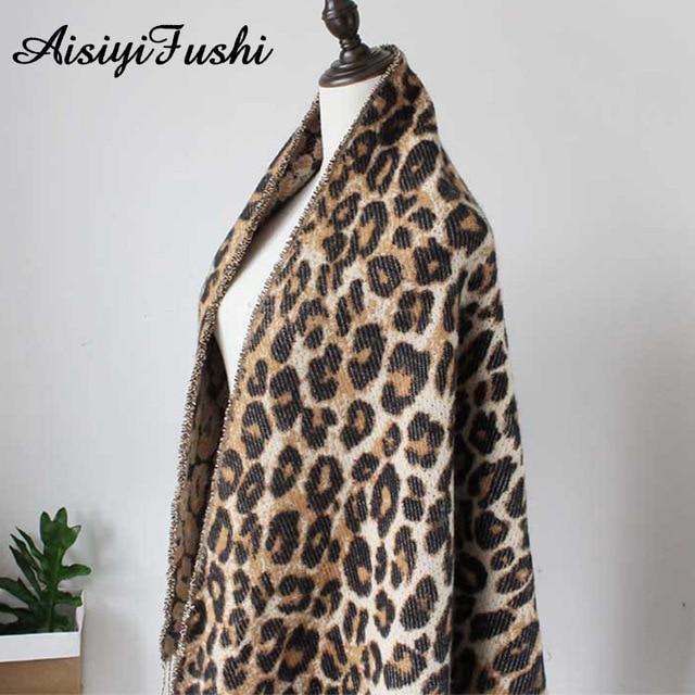 Brown Poncho Leopard Femme Winter Blanket Scarf Warm Soft Cashmere Thicken Long Ladies Tassel Scarves Women 2020 Poncho Foulard 5