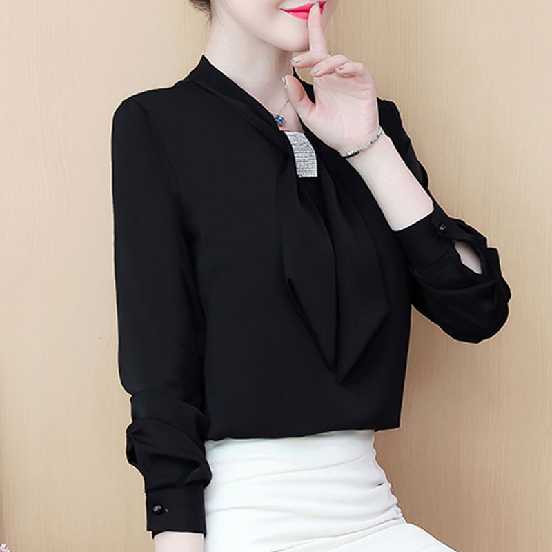 Womens Tops And Blouses 2021 Ladies Tops Chiffon Blouse Bow Solid Blusas Femininas Shirts For Women Tops Plus Size Black 8053 50 4