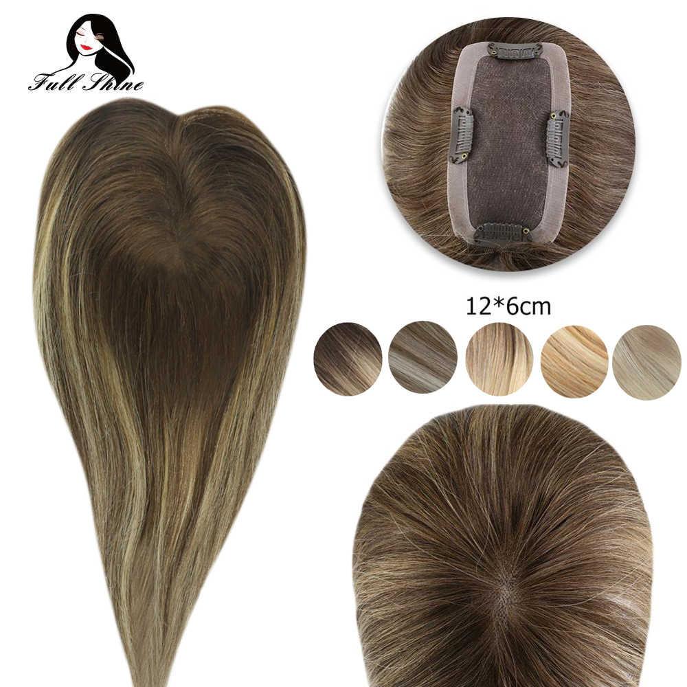Corona llena del brillo Topper 12*6cm Mono pieza del pelo con el Clip para las mujeres máquina hecha Remy pelo humano Real tupé para el pelo fino