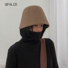 QPALCR новая индивидуальная шерстяная шляпа Fedora Женская одноцветная фетровая шляпа из фетра модная женская Трилби осенне-зимняя фетровая шляпа
