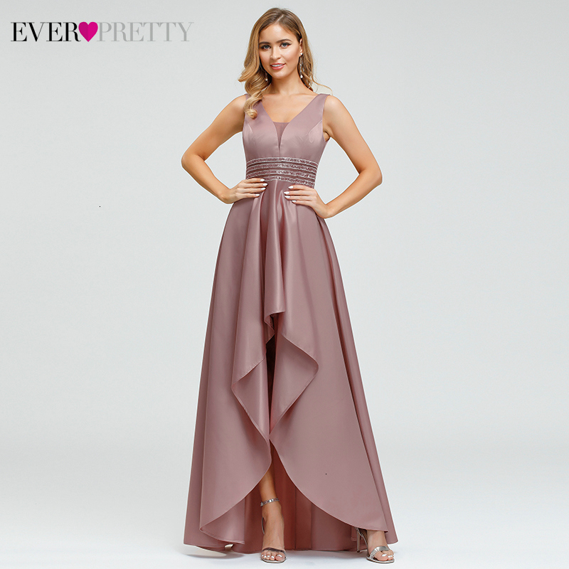 Ever Pretty Dusty Pink Prom Dresses Double V-Neck Sequined Asymmetrical Sleeveless Sparkle Formal Gowns Vestidos Formales 2020