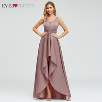 Ever Pretty Dusty Pink Prom Dresses Double V Neck Sequined Asymmetrical Sleeveless Sparkle Formal Gowns Vestidos Formales 2020