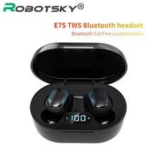 E7S Bluetooth kulaklıklar kablosuz Stereo kulak içi kulaklık kulakiçi IPX7 su geçirmez spor kulaklık Led ekran tüm telefonlar için