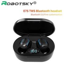 E7S سماعات بلوتوث لاسلكية ستيريو في الأذن سماعة أذن IPX7 مقاوم للماء الرياضة سماعة Led عرض لجميع الهواتف