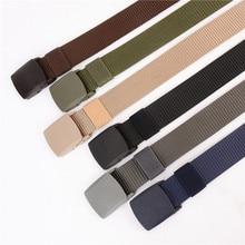 все цены на Best 2019 Unisex tactical belt Top quality 4 mm thick 3.8 cm wide casual canvas belt Outdoor Alloy Automatic buckle men Belt онлайн