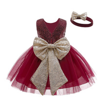 0-2 years old baby girl Dress bowknot accessories sequined princess dresses Cotton lining free hair band Beibei quality clothing
