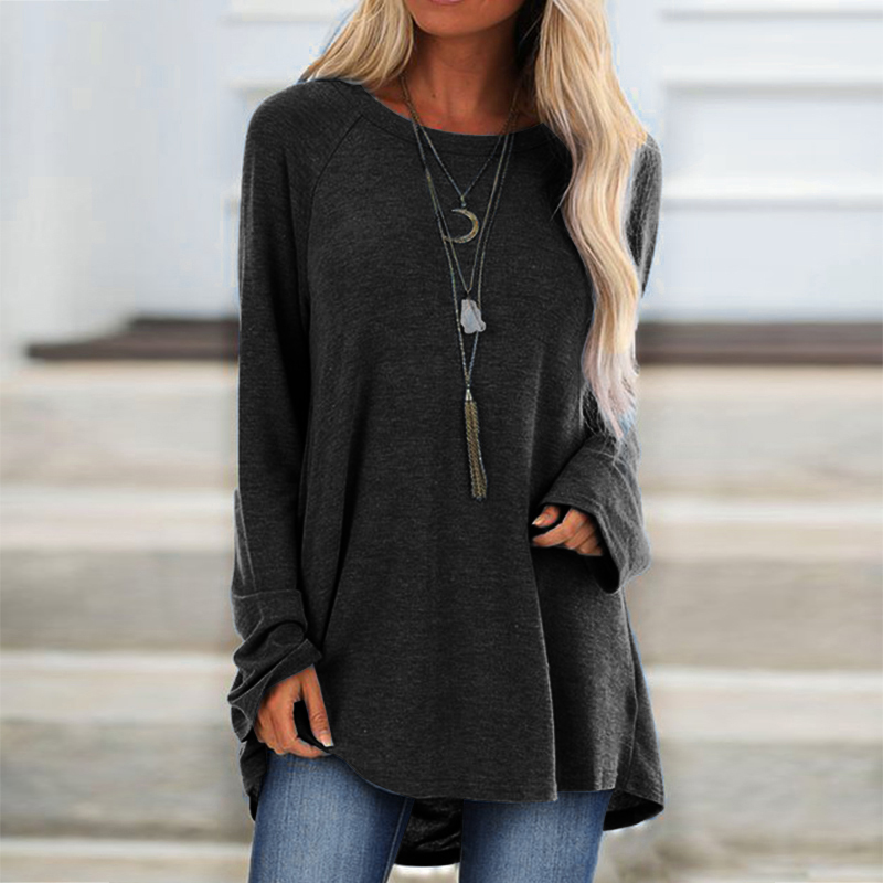4XL 5XL Women Plus Size Tops 2020 Spring Casual Cotton Cashmere Blouse Shirt Solid O-Neck Long Sleeve Tunic Loose Tee Shirt