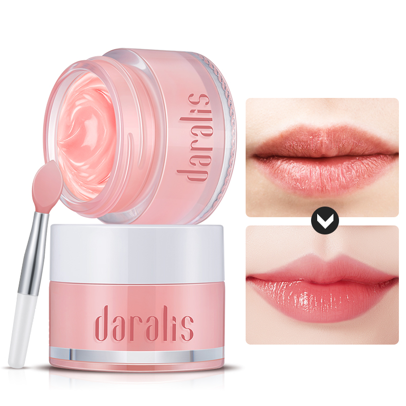 Daralis Strawberry Lip Mask Scrub Exfoliating Lips Plumper Moisturizing Repair For Lip Care Chapped Cracked Lips Brush Gift 15g