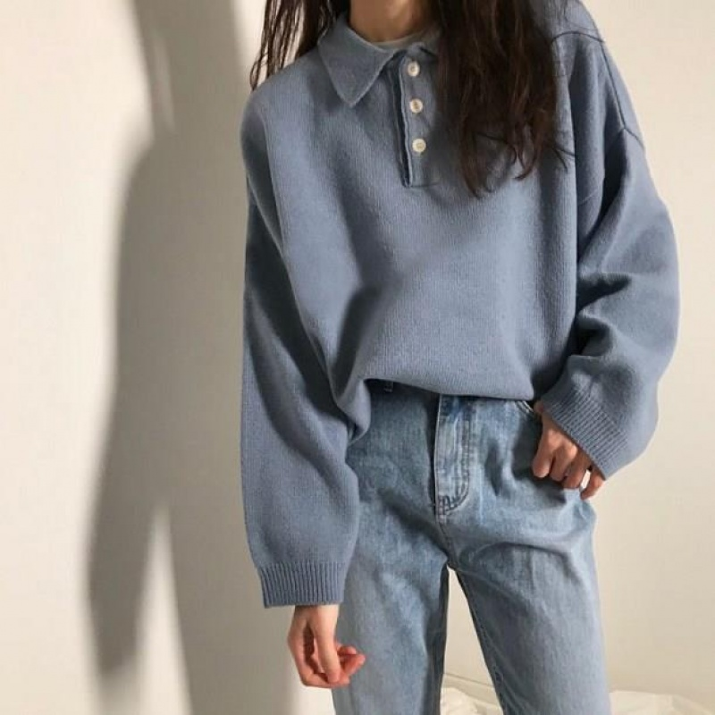 Oversized Sweater Women Autumn Winter Jumper With Buttons Knitted Pullover Casual Loose Turn Down Collar Harajuku Vintage V826