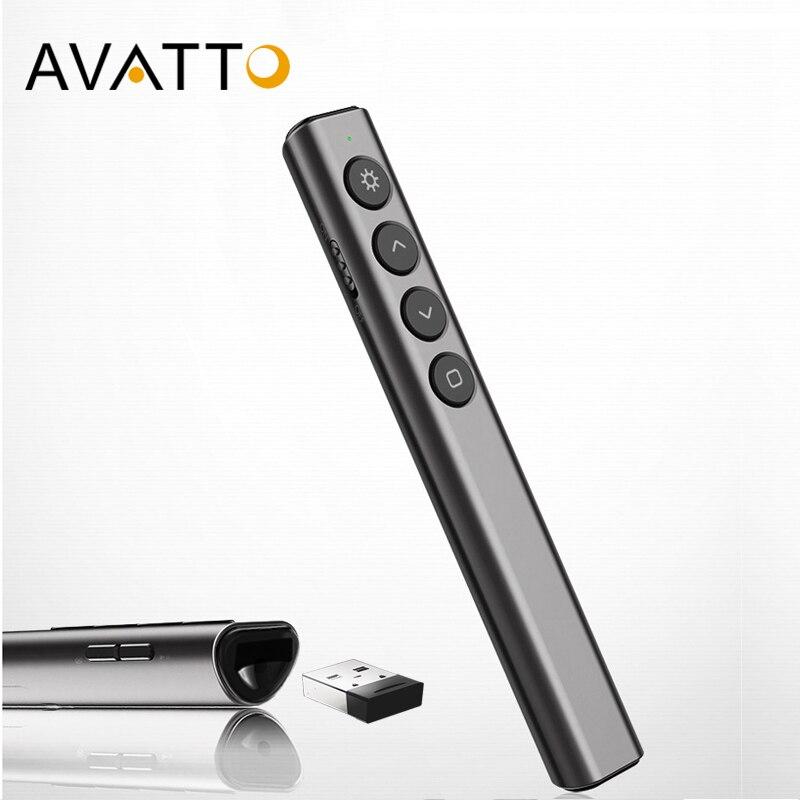 Avatto i07 mini apresentação wireless, ponteiro laser, apresentador powerpoint, caneta de controle remoto para ensino