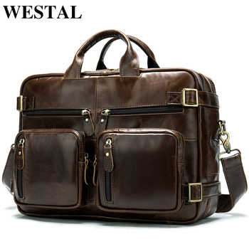WESTAL Men Briefcases Men's Bags Genuine Leather Office Bags for Men Laptop Bags Briefcase Male Totes Document/Computer Bag 341 - DISCOUNT ITEM  48% OFF All Category