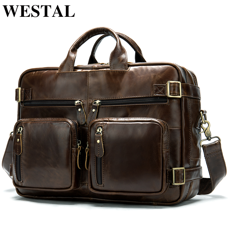 WESTAL Men Briefcases Men's Genuine Leather Bag Office Bags for Men Laptop Bags Leather Briefcase Men Lawyer/Computer Bags 341