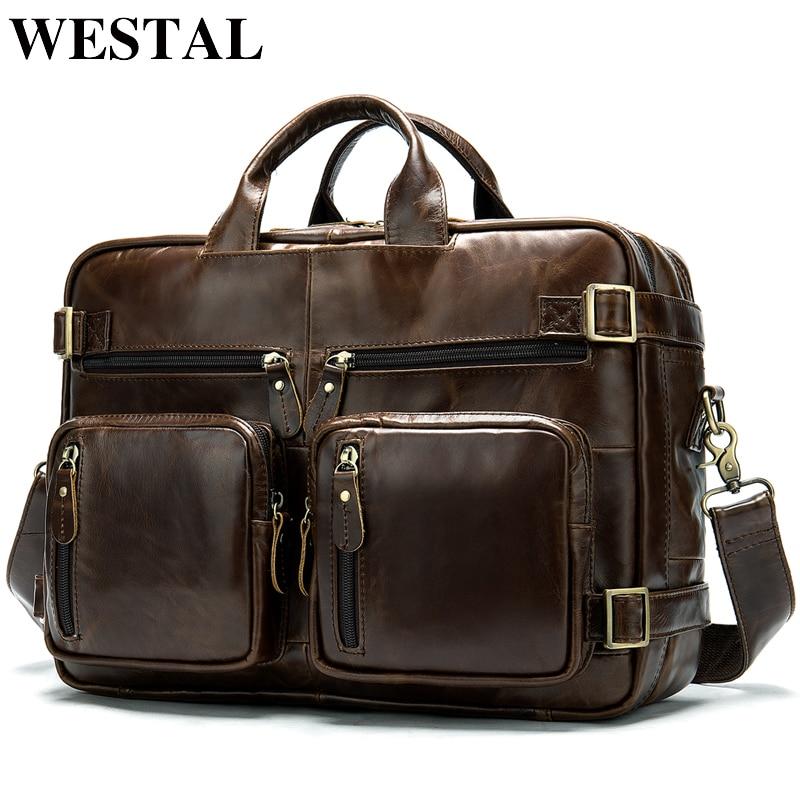 WESTAL Men Briefcases Men's Genuine Leather Bag Office Bags For Men Laptop Bags Leather Briefcase Men Lawyer/Computer Bags 341