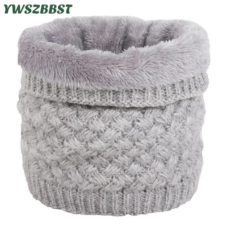 Unisex Winter Men Women Warm Knitted Ring Scarves Thick Elastic Knit Mufflers Children Neck Warmer Boys Girls Plush Scarf Collar