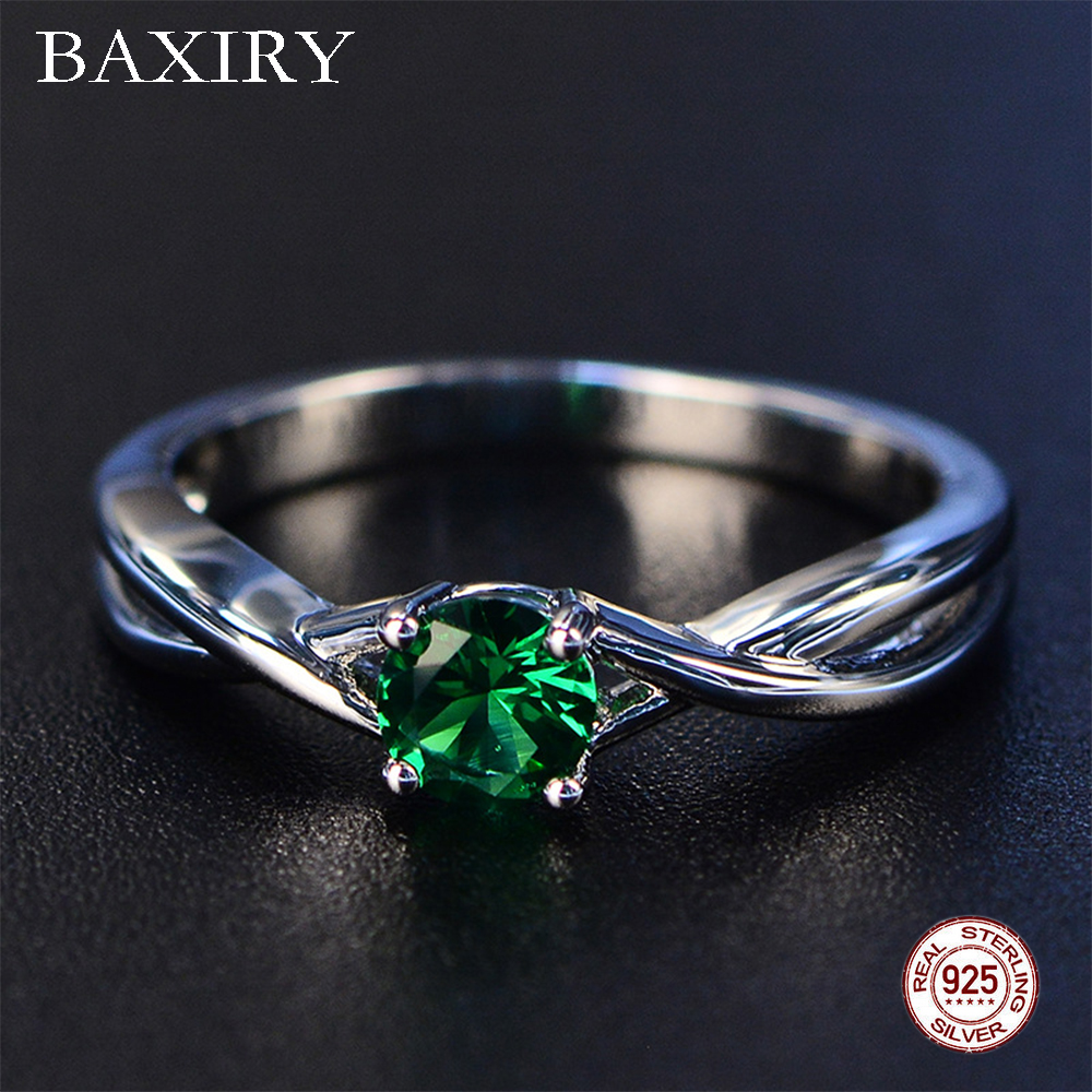 2019 Fine Trendy Engagement Emerald Ring Silver 925 Jewelry Amethyst Gemstone Ring Silver Cocktaill Zircon Blue Sapphire Ring
