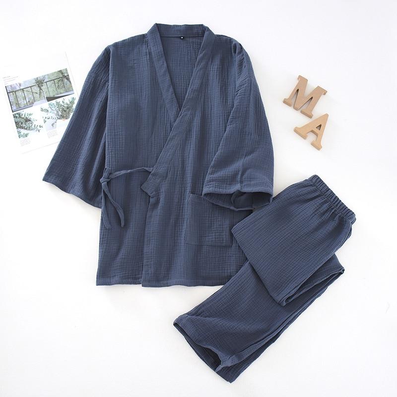 2PCS Sleepwear Lovers' Japanese Style Pajamas Couple Cotton Gauze Sweat Steam Kimono Bath Gown Loose Soft Home Clothing Suit