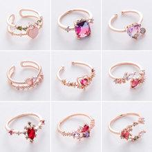2021 novo coreano doce amor coração flor cúbico zircônia anéis ajustáveis para mulheres meninas moda festa de cristal bague jóias presente