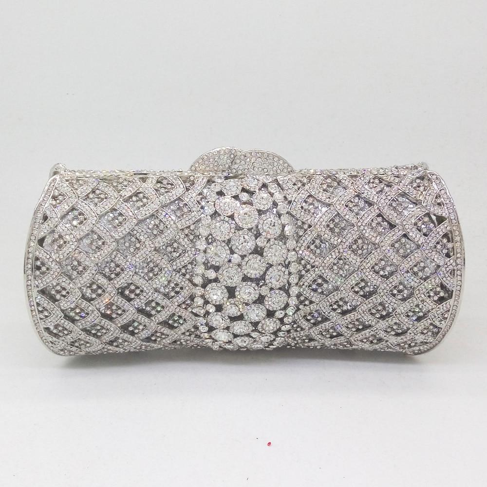 Boutique De FGG Dazzling Silver Women Crystal Clutch Purses Evening Bags Bridal Diamond Minaudiere Handbags Ladies Party Bag