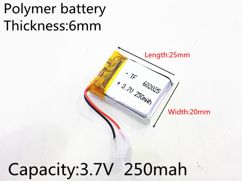 602025 3.7V 250mAh 062025 Lithium Polymer Li-Po Li Ion Rechargeable Battery Cells For Mp3 MP4 MP5 GPS PSP Mobile Bluetooth