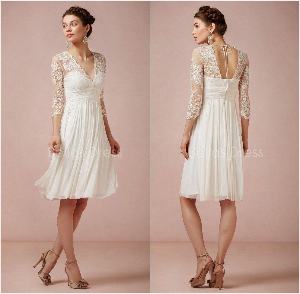 2019 Vintage Knee Length Wedding Dresses V-neck Sheer Wedding Dresses With Lace 3/4 Sleeve Backless Summer Chiffon Bridal Dress