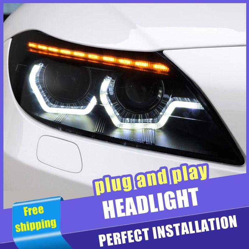 2 pièces voiture Style LED phares pour BMW Z4 E89 09-16 pour Z4 E89 lampe frontale LED DRL lentille Double faisceau H7 HID xénon bi xénon lentille