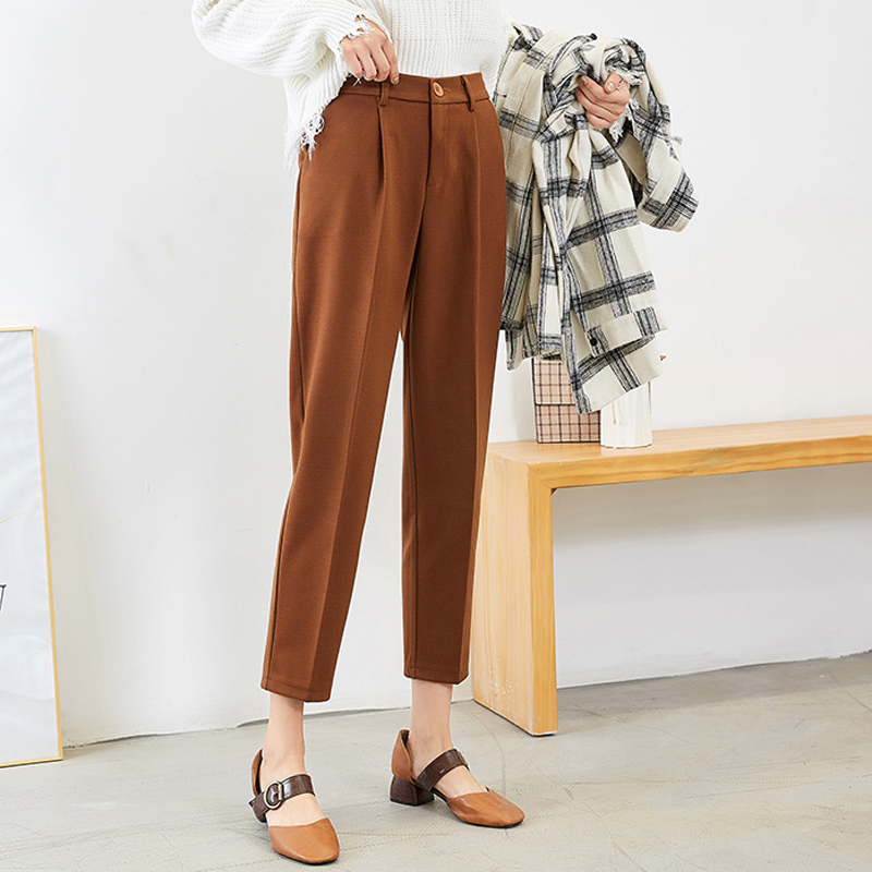 Casual Thick Pencil Pants Women Plus Size Wool Female Work Suit Pants 2019 Autumn Winter High Waist Female Trousers Capris