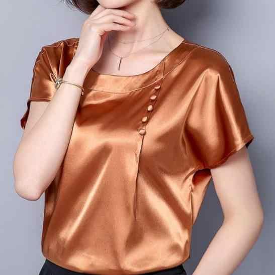 Élégant dames blouse femmes bureau travail satin soie brève couleur unie hauts grande taille à manches courtes boutons lâche blusas DV988