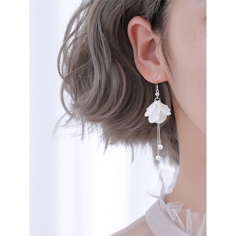 Eternal Flower Pearl Earrings Women Long Temperament Silver Plated Tassel Earrings Wedding Bridal Accessories