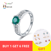 Stroll Girl New 925 Sterling Silver Wedding Rings Green Crystal Transparent CZ Ring For Woman Fashion Jewelry Gift Free Shipping