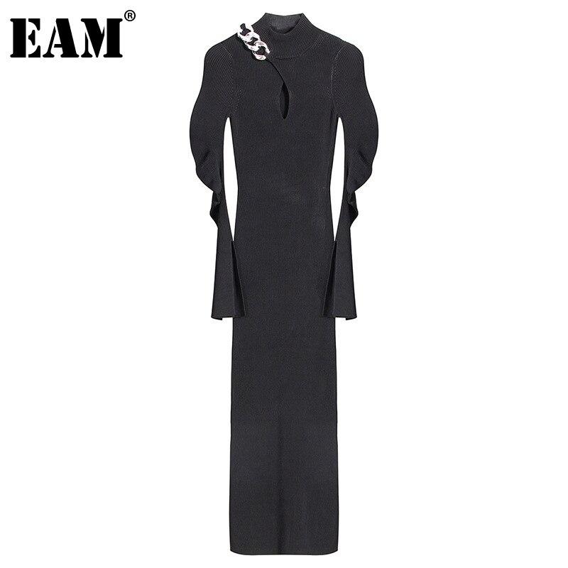 [Eem] kadınlar Metal zincir Hollow Out uzun örgü elbise yeni balıkçı yaka uzun kollu gevşek Fit moda bahar sonbahar 2021 1DC787