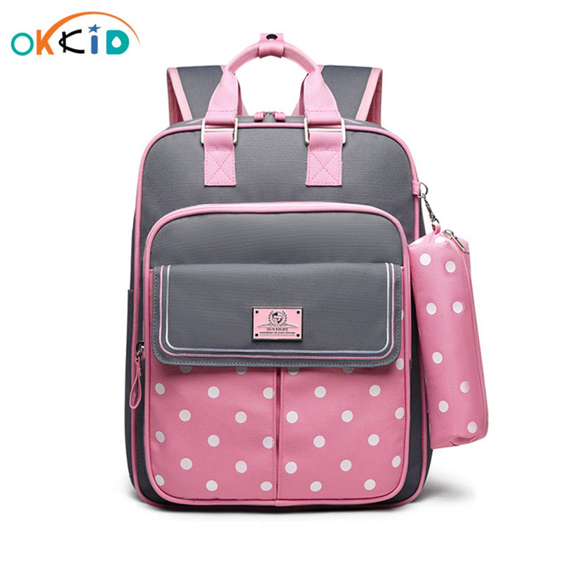OKKID High Quality Kids Orthopedic School Backpack For Girls School Bag Girl Schoolbag Children Book Bag Set Cute Pencil Case