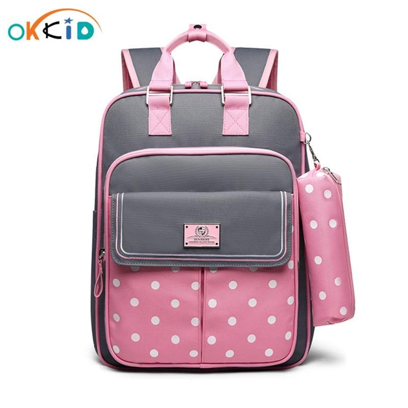 OKKID High Quality Kids Orthopedic School Backpack For Girls School Bag Girl Schoolbag Children Book Bag Set Cute Pencil Case