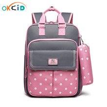OKKID גבוהה באיכות אורתופדי ילדים בית ספר תרמיל עבור בנות בית ספר תיק ילדה ילקוט ילדי ספר תיק סט חמוד קלמר