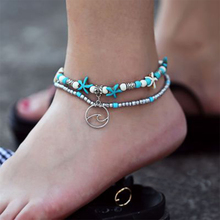 Lacoogh Boho Vintage Ethnic Anklet Green Stone Double Layer Seashell Starfish Ankle Bracelets Handmade Jewelry Gift