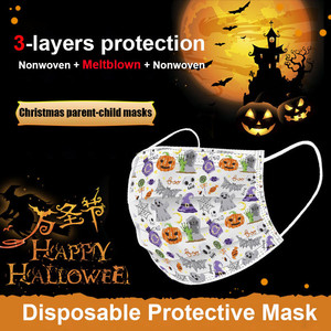Image 5 - 20 100pc Face Mask Childrens Disposable Face Cover Christmas Halloween Print Parent child Mouth Face Cover Dustproof Mascarilla