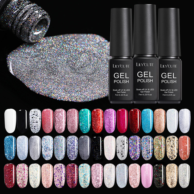 LILYCUTE 7ml Gel Nail Polish Holographic Glitter Nail Gel LED UV Gel Varnish Soak Off DIY Nail Art Gel Polish 146 Colors