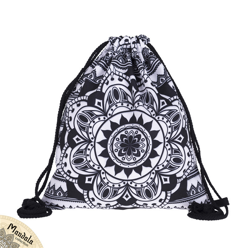 Backpack Bundle Pocket Rope Bag Women Digital Printing Mandalas Female Flower Bundle Fabric Bag  Europe America Fashion New 3D