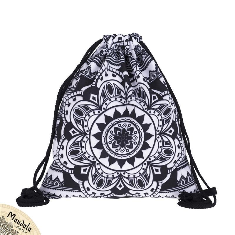 Backpack Bundle Pocket Rope Bag Women Digital Printing Mandalas Female Flower Bundle Fabric Bag  Europe America Fashion New 3D