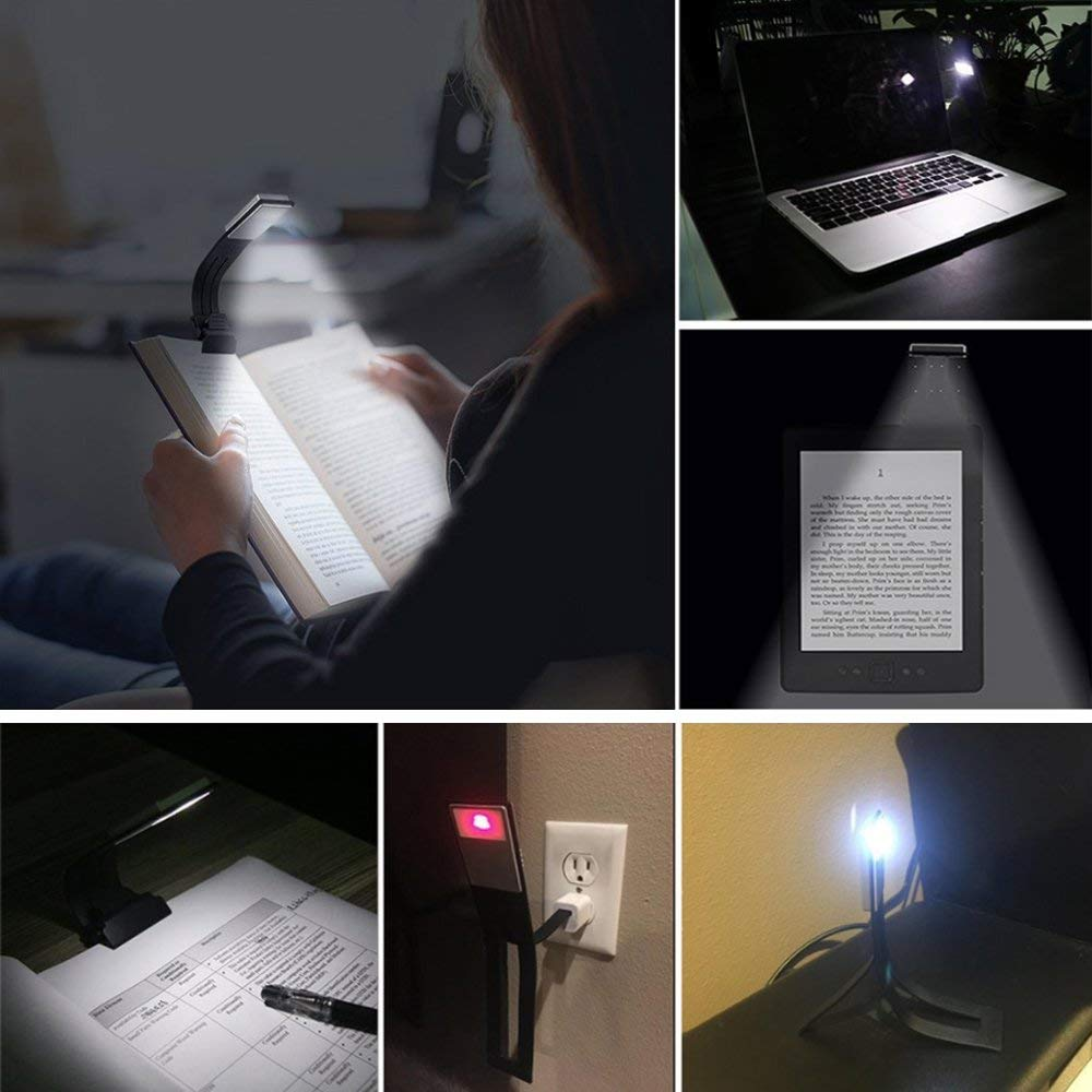 LEDGLE USB Rechargeable Reading Lamp Compact Desk Light Flexible Mini LED Lights Clip-on Table Flashlight for Kindle and Books 6