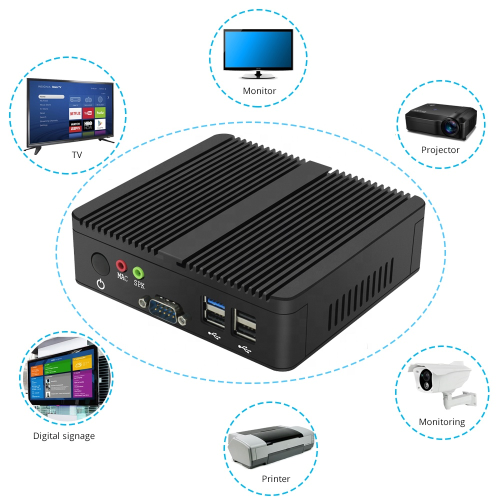 Cheap Fanless Barebone System J1900 I3 I5 I7 Industrial 300M WIFI 2 Ethernet Lan Rs232 12v Mini Pc