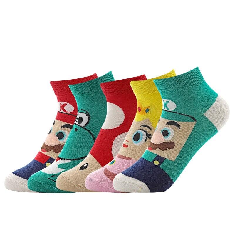 Princess Dinosaur Mushroom Men Socks Cotton Cartoon Anime Funny Casual Cute Kawaii Comfortable Summer Style G0823
