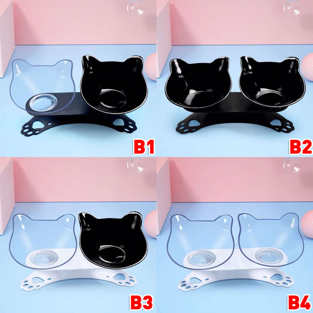 Non slip Cat Bowls Double Bowls With Raised Stand Pet Food And Water Bowls For Cats Dogs Feeders Cat Bowl Pet Supplies 2
